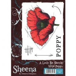 Crafters Companion - Sheena Douglass - A Little Bit Sketchy A6 Stamp - Wild Poppy